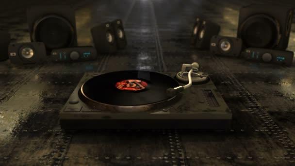 Cool retro animace Cg nabízí vinyl záznam točí na gramofonu s reproduktory a disco světla v pozadí