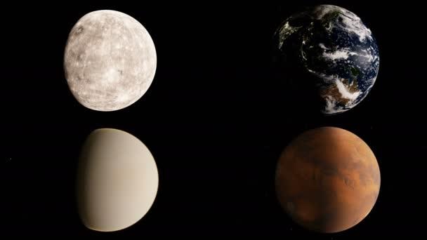 Timelapse animace ze čtyř skalnaté planety Merkur, Venuše, země a Mars na černém hvězdné pozadí