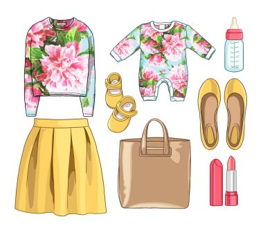 Lady fashion set of spring season outfit. Illustration stylish and trendy clothing. Dress, bag, accessories, sunglasses, high heel shoes.