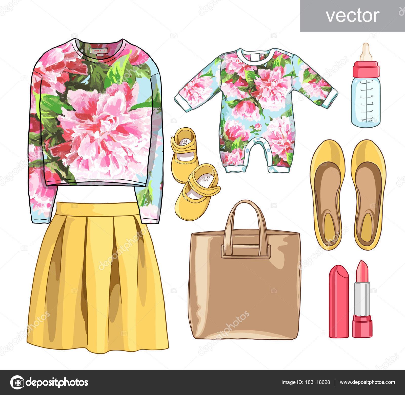 e4377d451 Imágenes: ropa de primavera | Vector. Dama de la moda juego de ropa ...