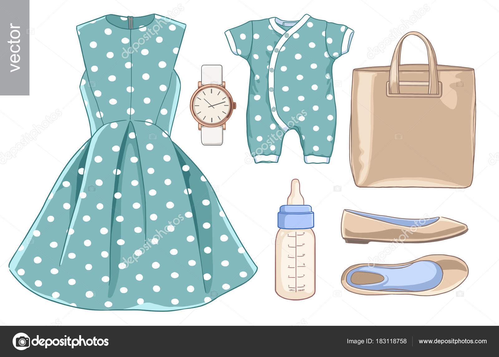 28a89bd61d9883 Vector. Lady mode ingesteld van voorjaar seizoen outfit. Illustratie  stijlvolle en trendy kleding.