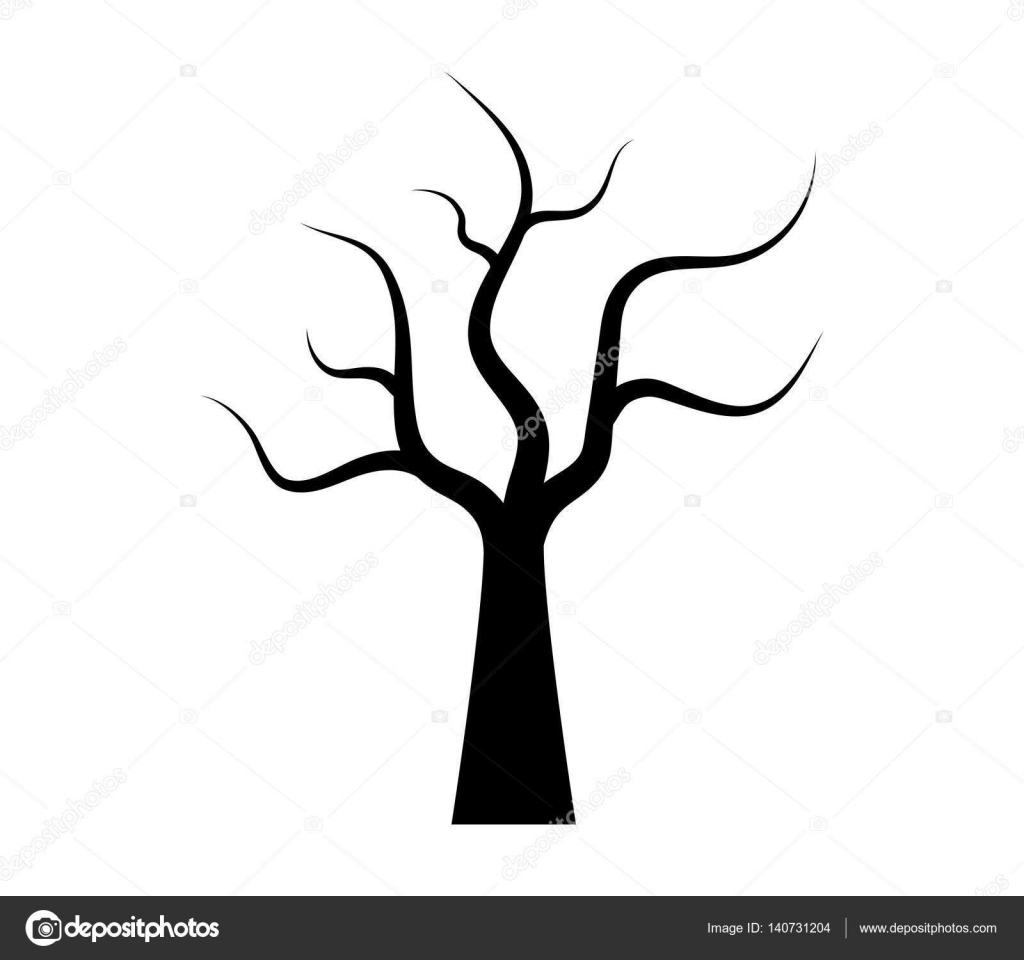Dry Tree Illustrated On A White Background Stock Vector