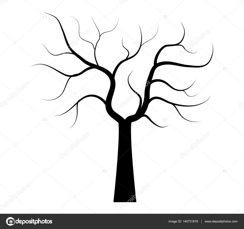 Kuru Ağaç Beyaz Bir Arka Plan üzerinde Resimli Stok Vektör