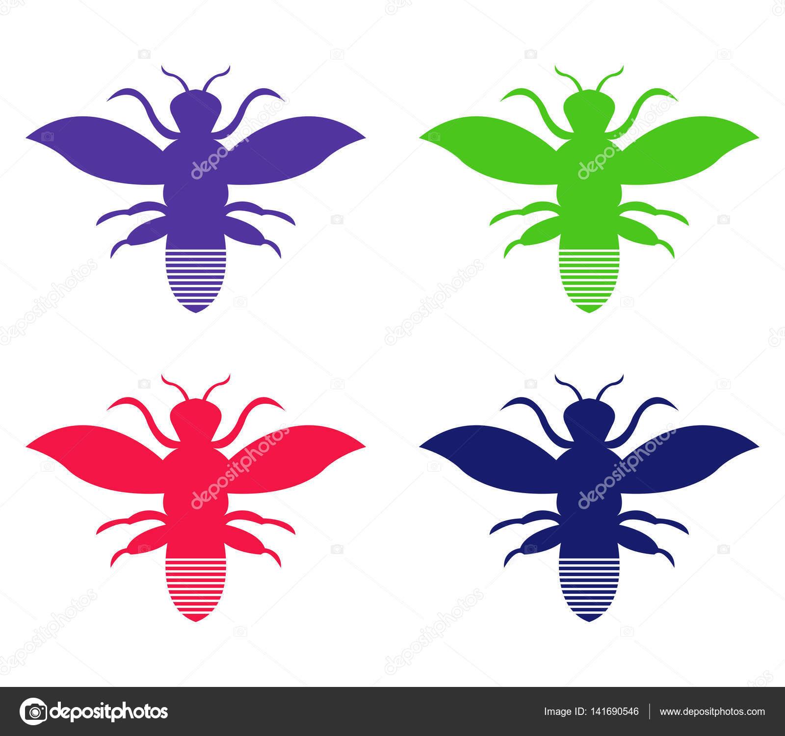 白い背景のイラスト ハチを設定します。 — ストックベクター