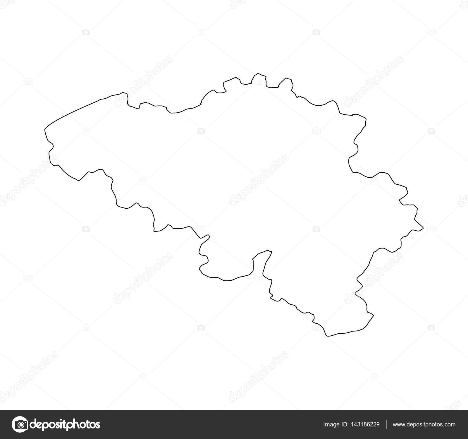 Carte Belgique Noir Et Blanc.Belgium Map Illustrated On A White Background Stock Vector
