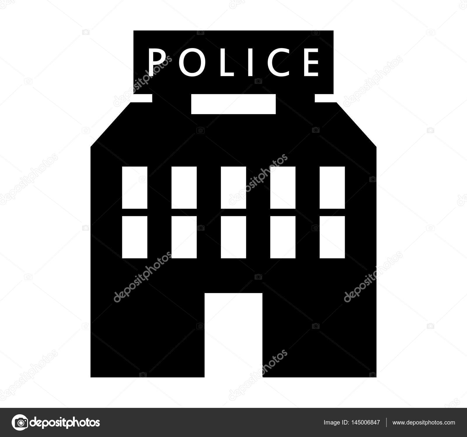Police Station Icon Illustrated On A White Background Stock Vector
