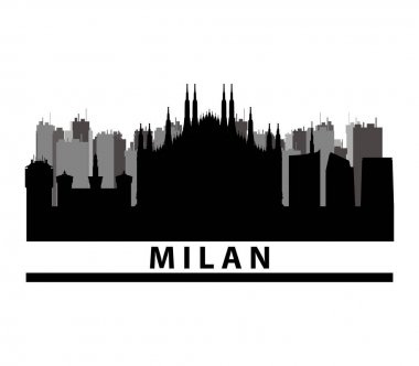 Milan skyline illustrated on a white background