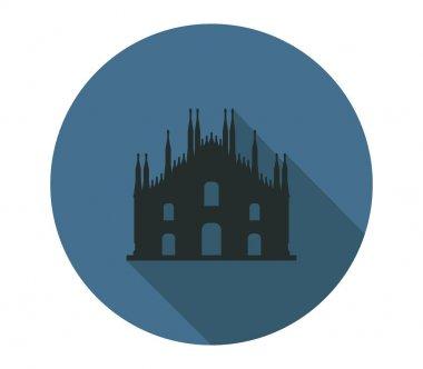 Milan cathedral icon on white background