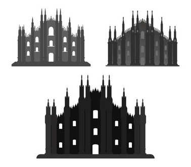 Milan cathedral icon on white background