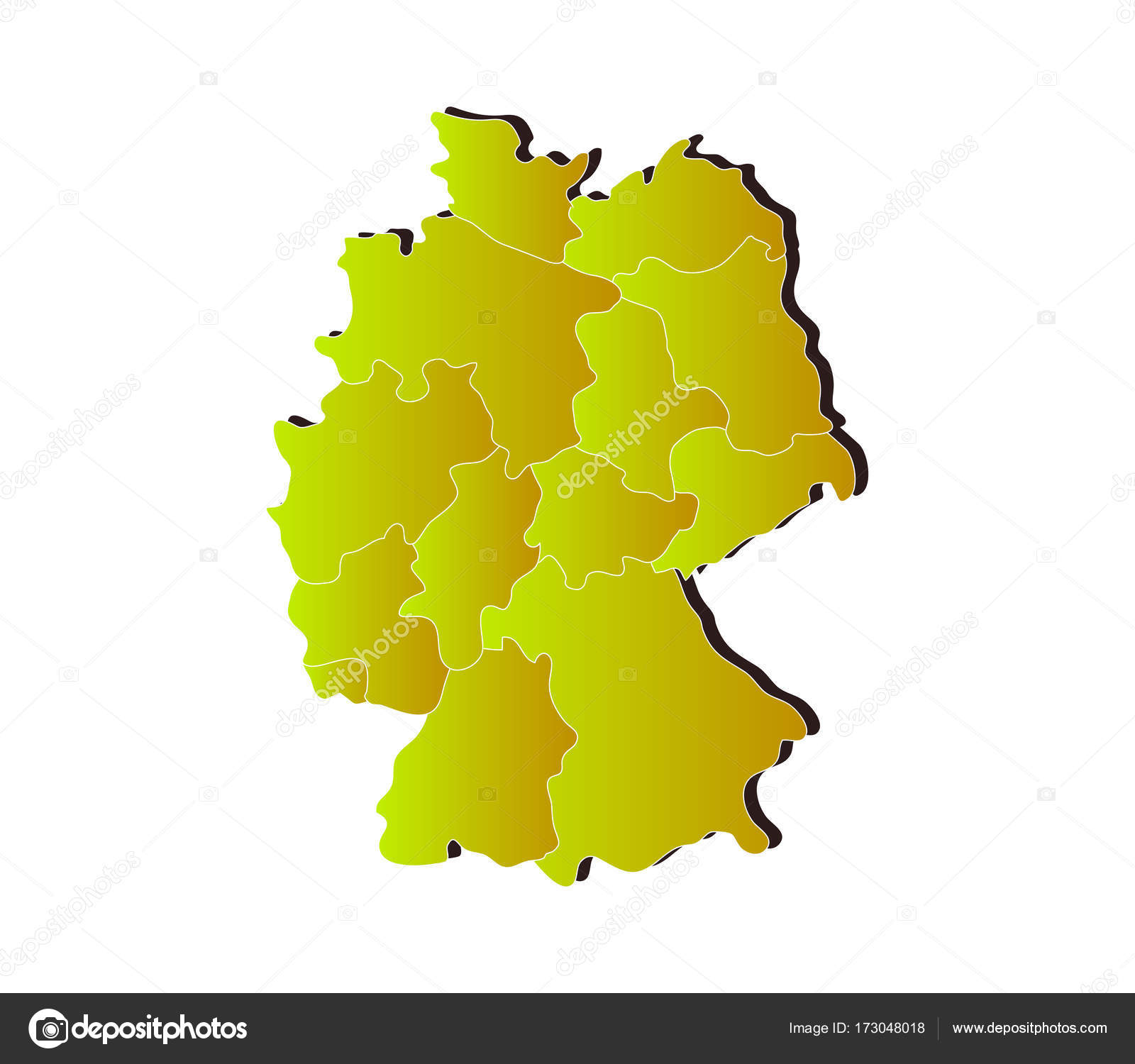 Map Germany Regions White Background Stock Vector marcotrapani