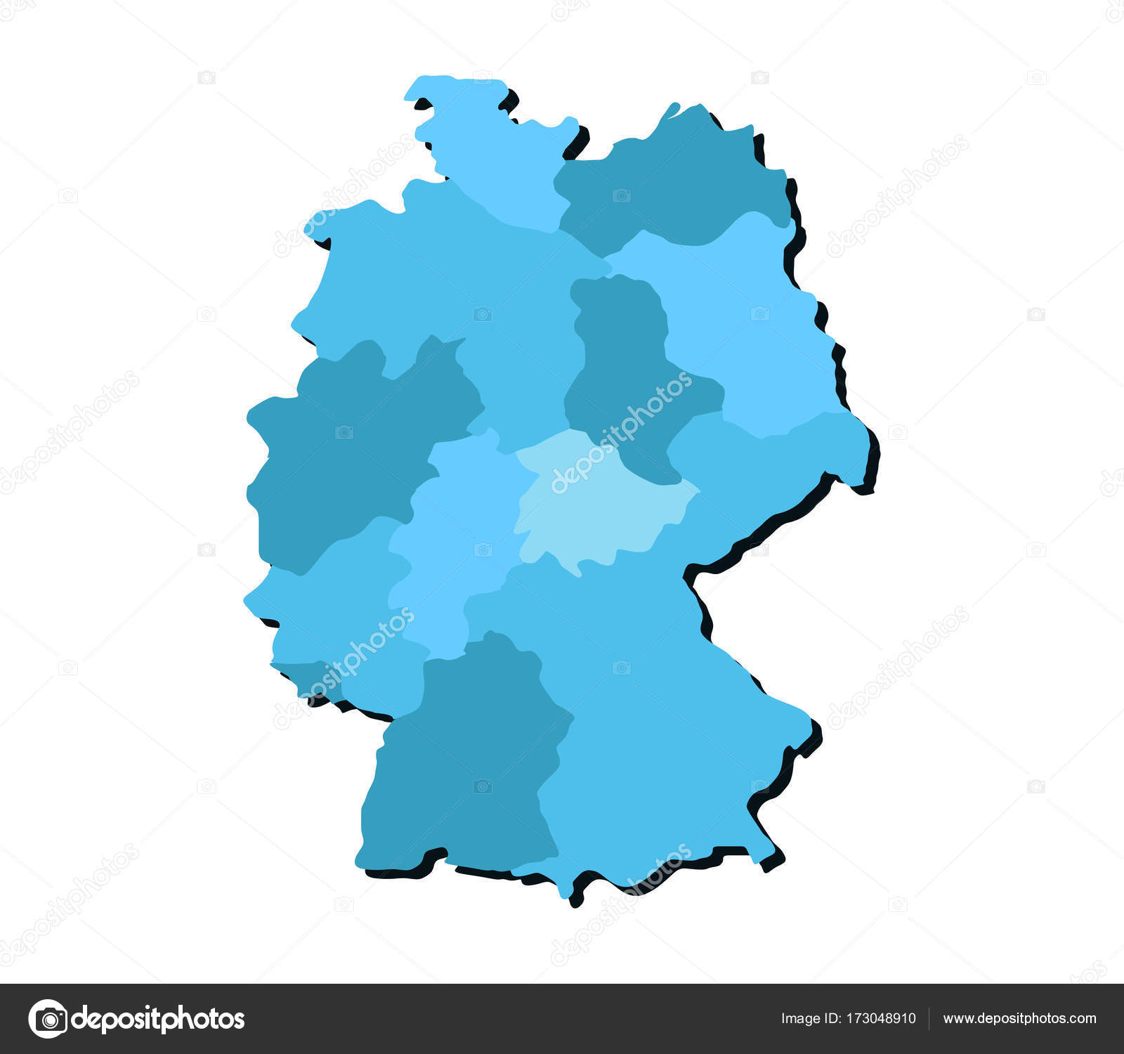 map germany regions white background stock vector