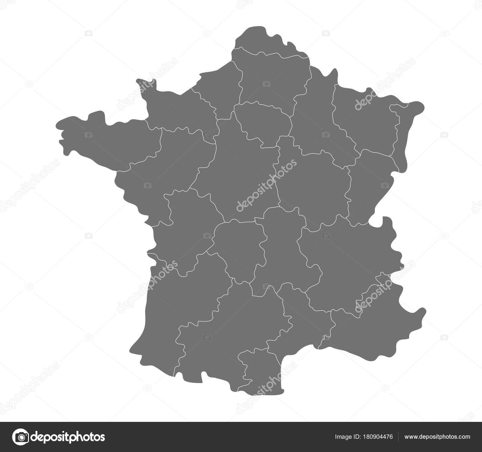 Frankreich Karte Regionen.Frankreich Karte Mit Regionen Auf Weißem Hintergrund Stockvektor
