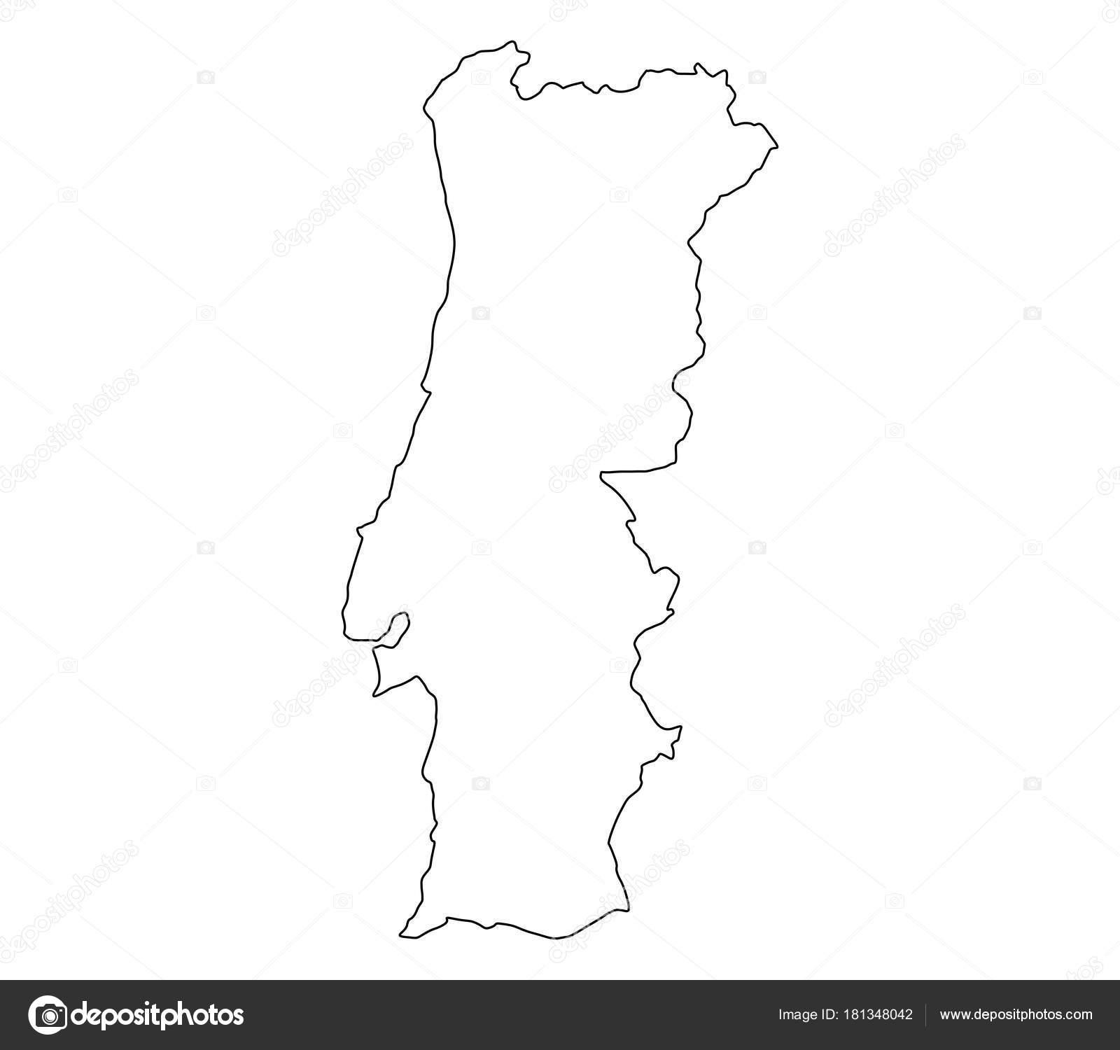 mapa de portugal branco Mapa Portugal Sobre Fundo Branco — Vetor de Stock © marcotrapani  mapa de portugal branco