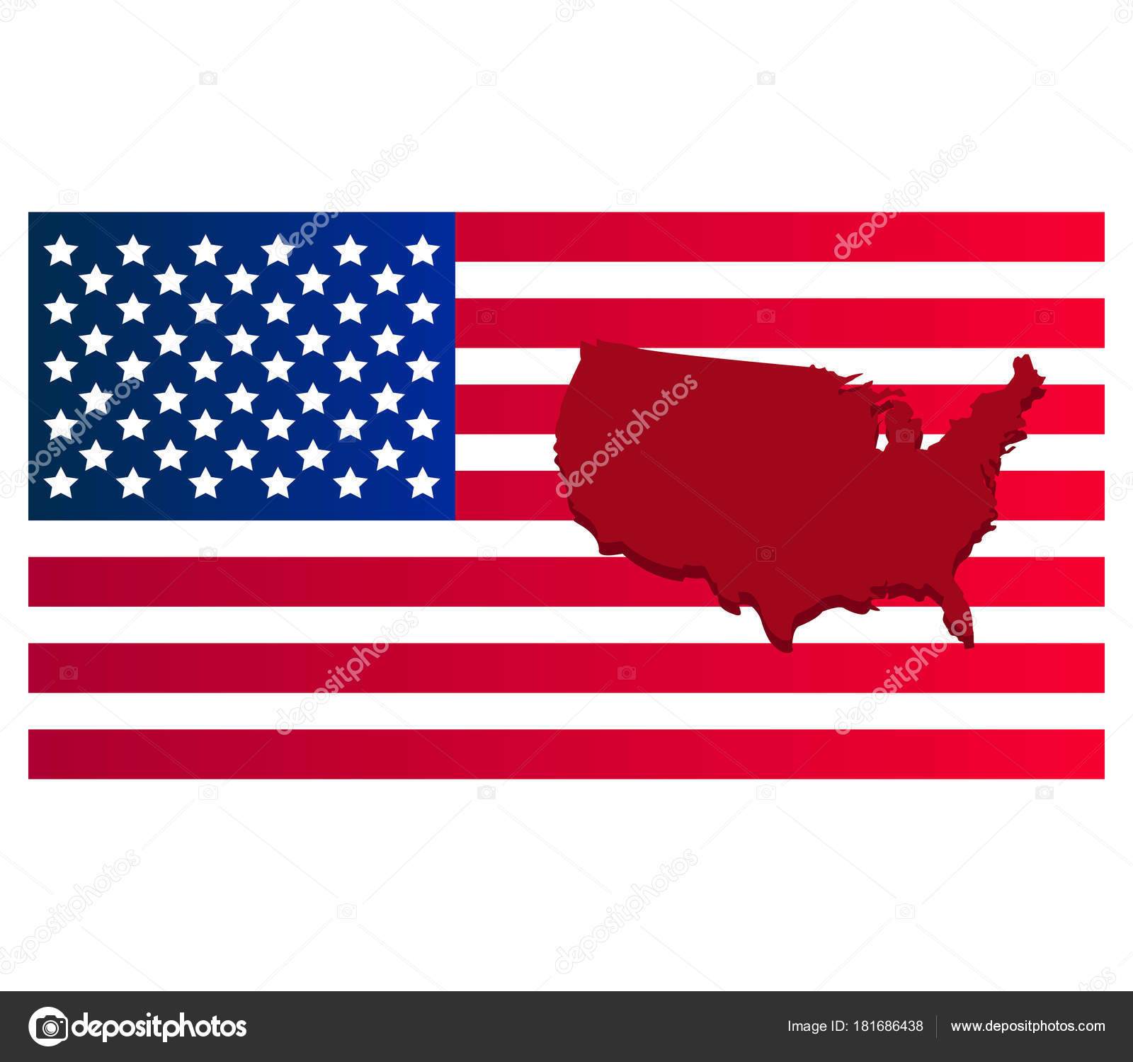 United States Map Flag White — Stock Vector © marcotrapani #181686438