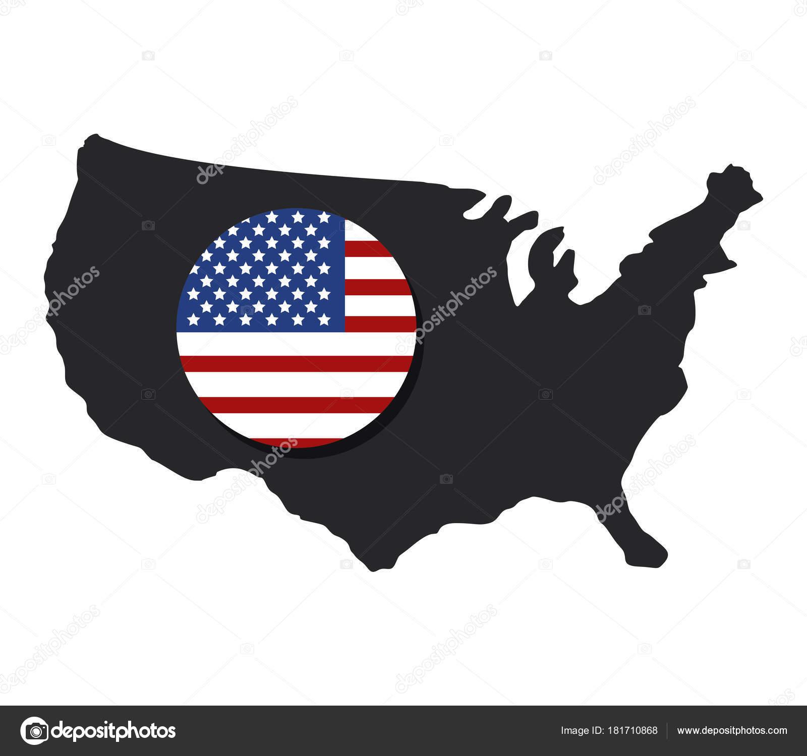 United States Map Flag White Background — Stock Vector ...
