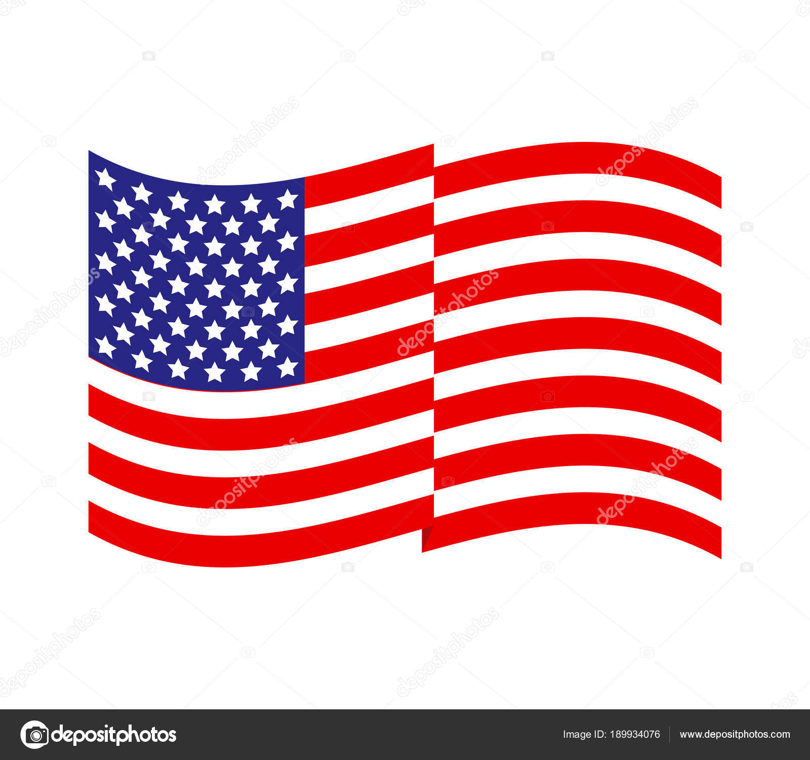 united states flag vector white background stock vector