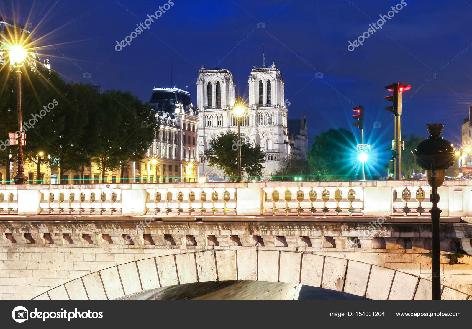 Notre Dame Cathedral At Night Paris France Stock Photo