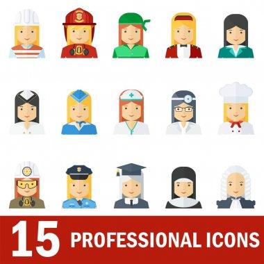 woman professional icons white