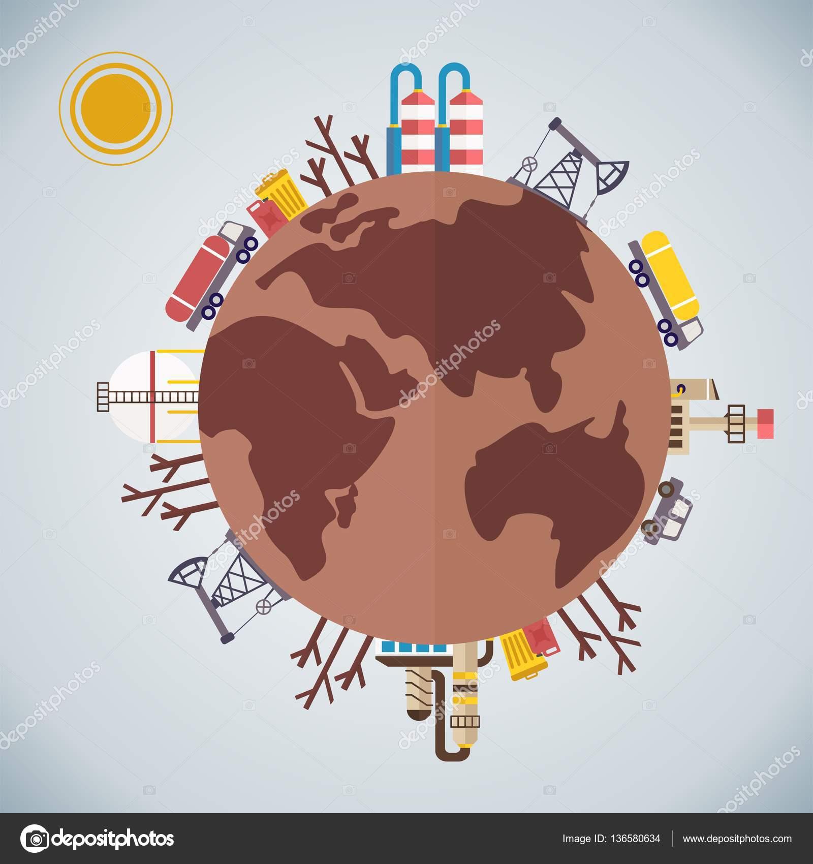 Planète Terre Polluée Image Vectorielle Quarta 136580634
