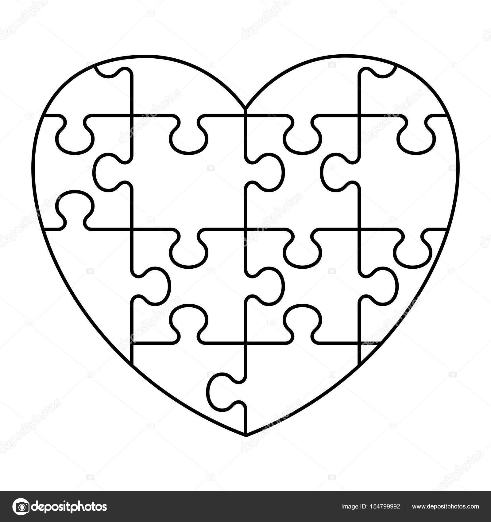 Corazon en rompecabezas para colorear | Puzzle icono del corazón