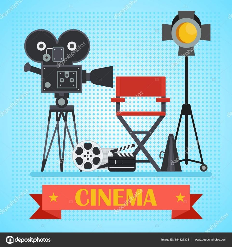 Kino-Plakat mit Kamera — Stockvektor © quarta #154826324