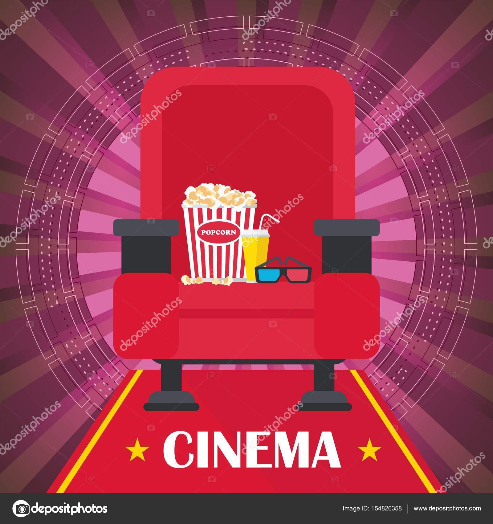 cartel de cine con silla — Vector de stock © quarta #154826358