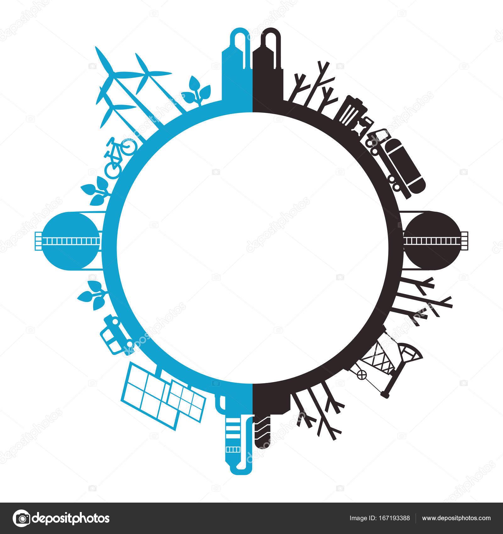 Planète Eco Et Pollué Image Vectorielle Quarta 167193388