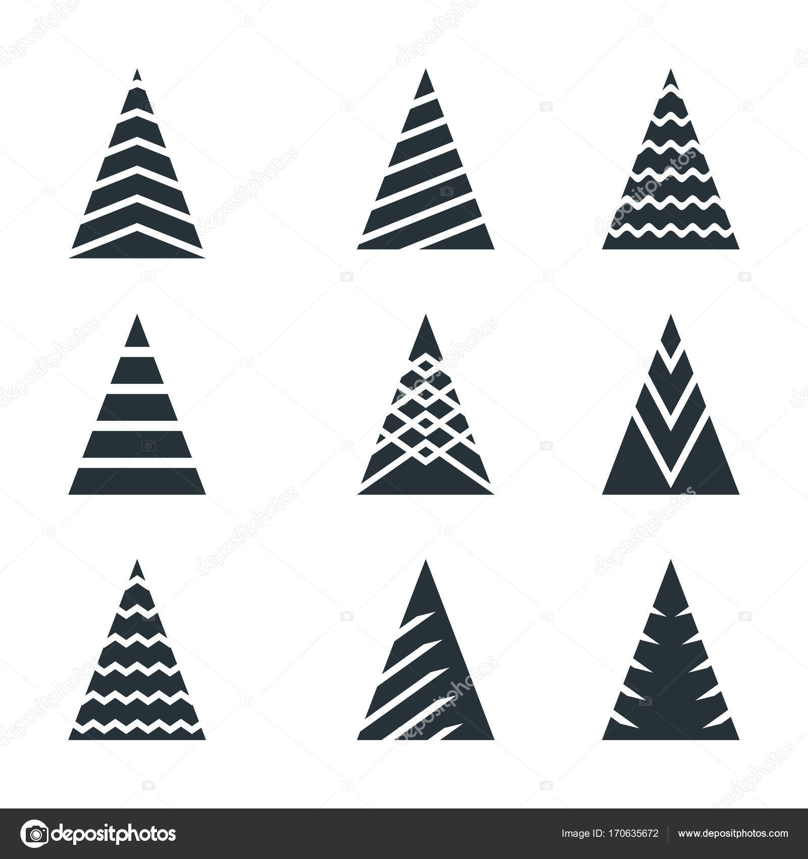 Christmas Tree Black Icon Set Stock Vector C Quarta 170635672