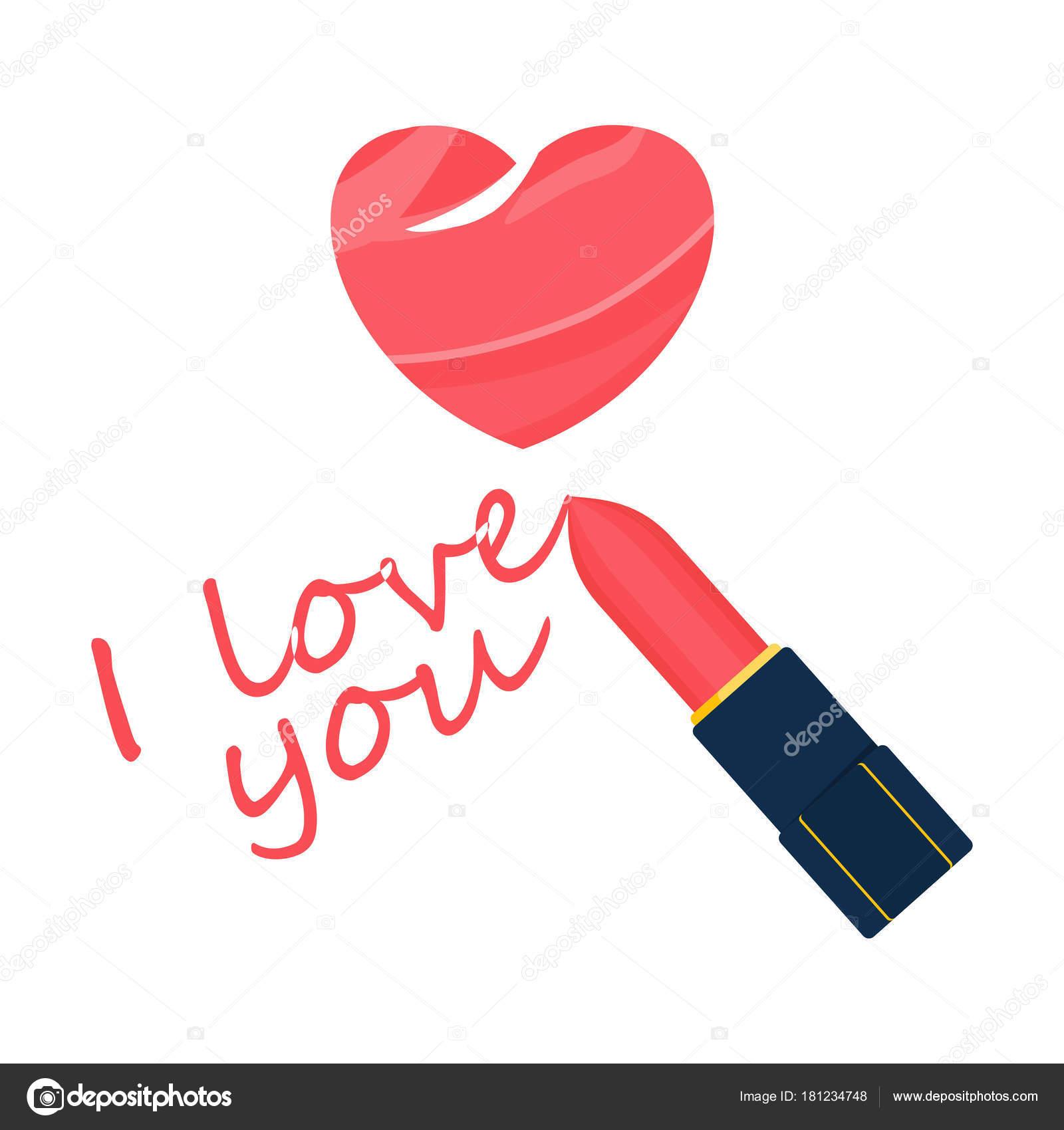 Je Taime Rouge à Lèvres Image Vectorielle Quarta 181234748