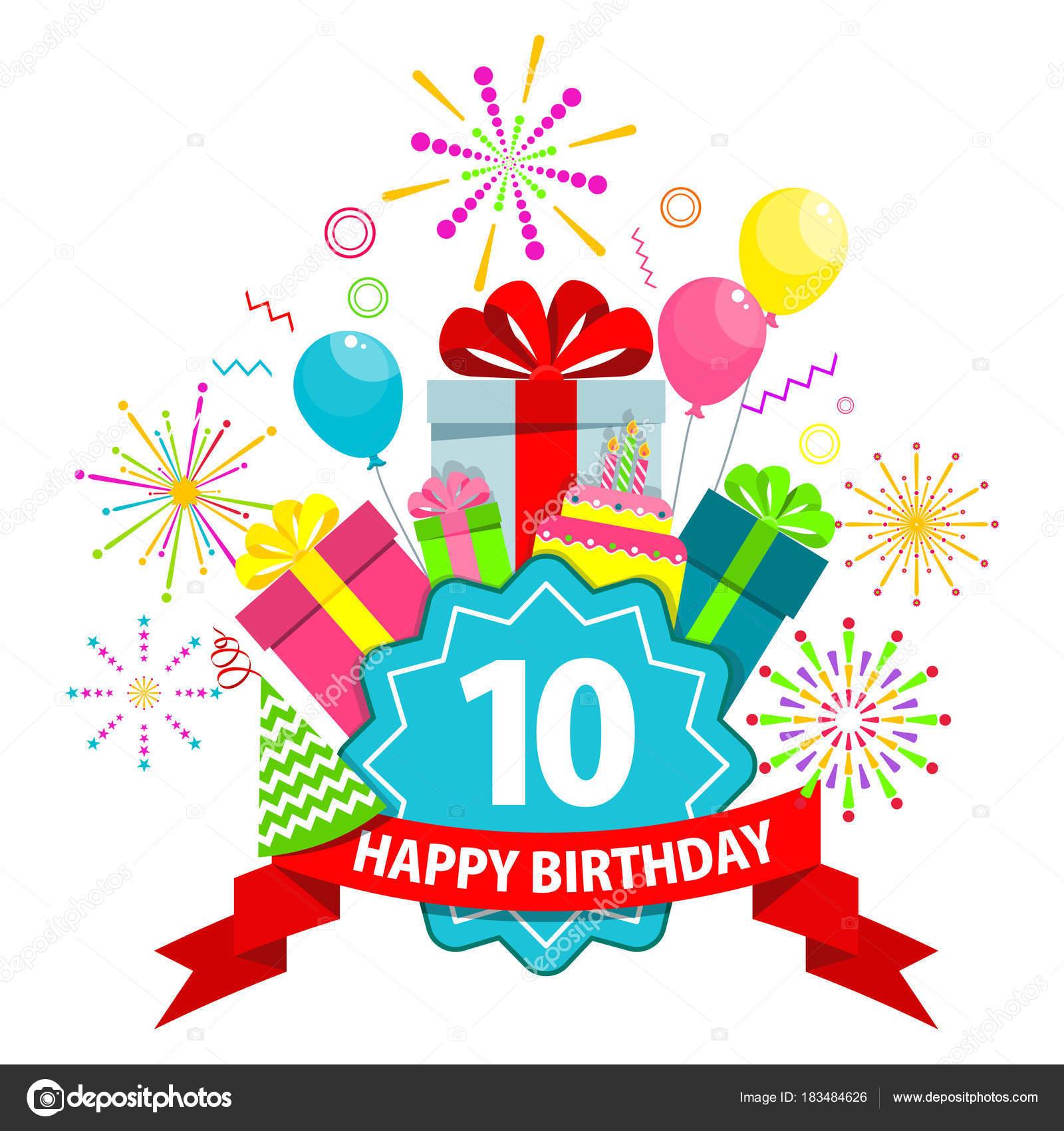 carte de joyeux anniversaire 10 ans image vectorielle quarta 183484626. Black Bedroom Furniture Sets. Home Design Ideas