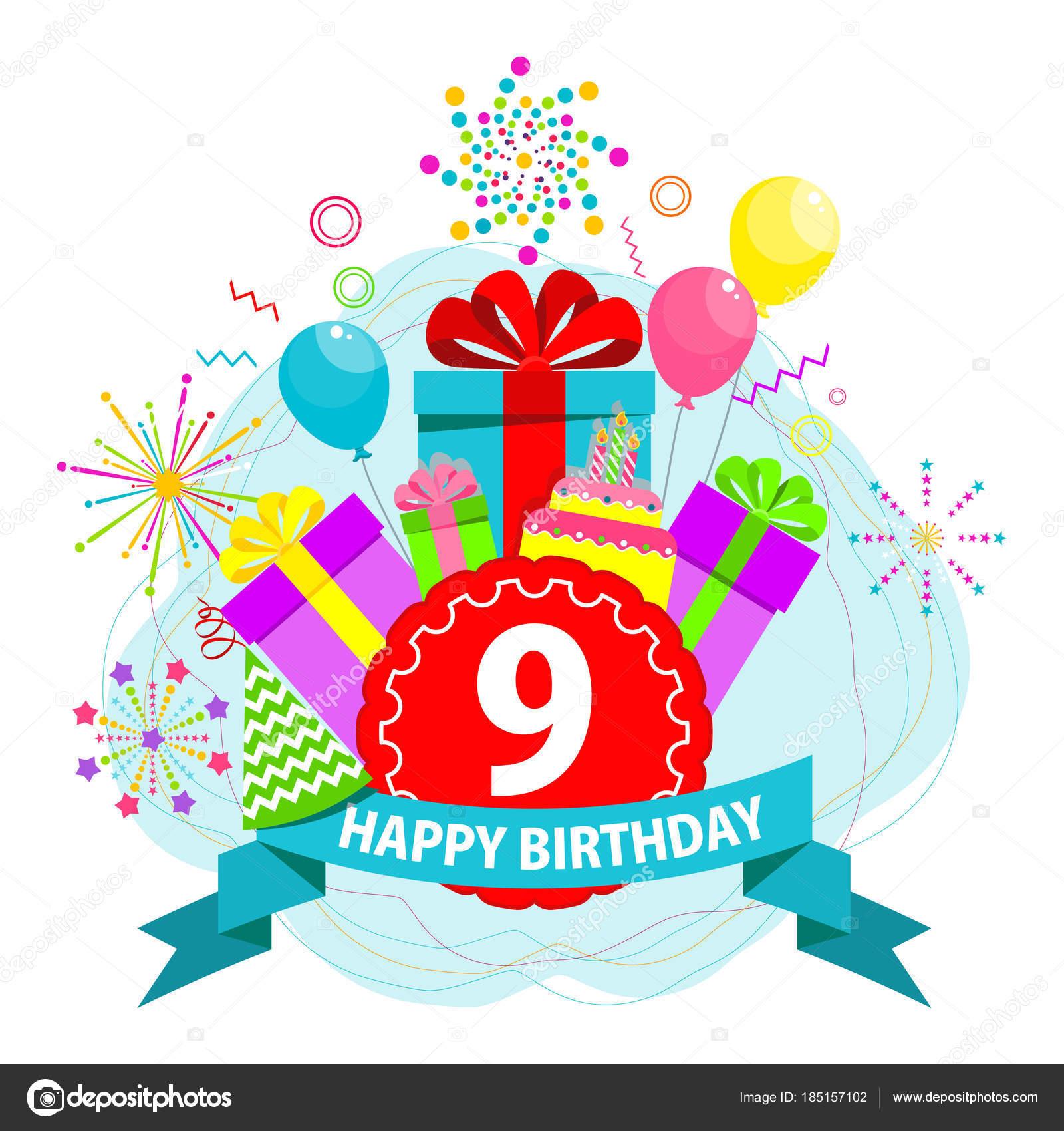 Geburtstagskarte 9 Jahre — Stockvektor © quarta #185157102