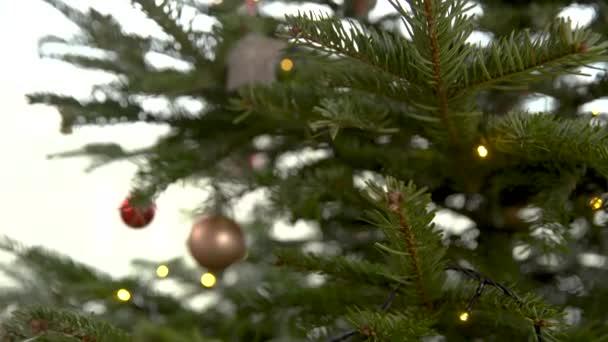 Karácsonyfa otthon díszített különböző színű golyók