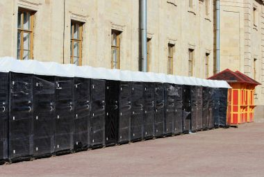 Many new portable dry closets bio-toilet are at the Gatchina Palace. Preparation for the celebration of the anniversary of the Leningrad region