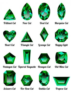 Set of realistic green emeralds with complex cuts