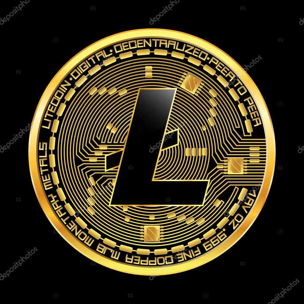 Crypto currency litecoin golden symbol — Stock Vector © Ryzhi #167082384