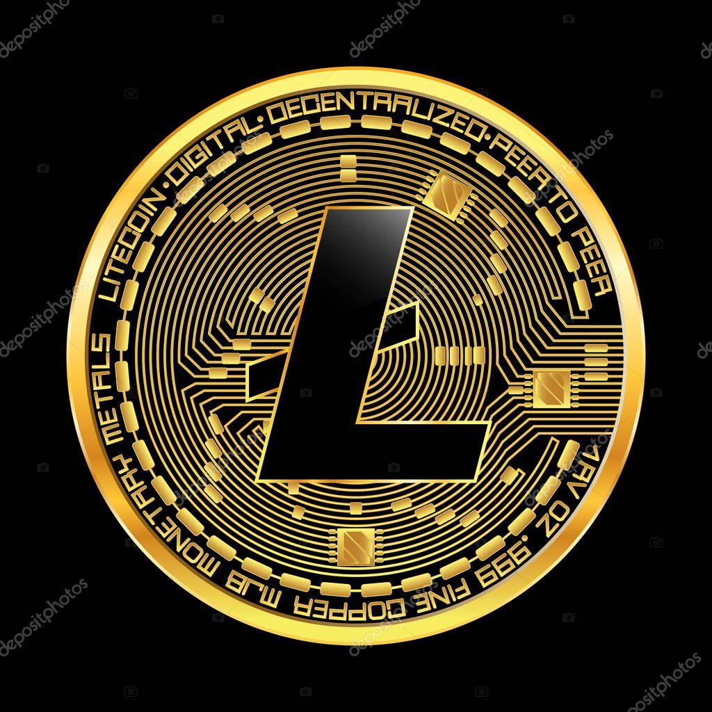 Crypto currency litecoin golden symbol — Stock Vector