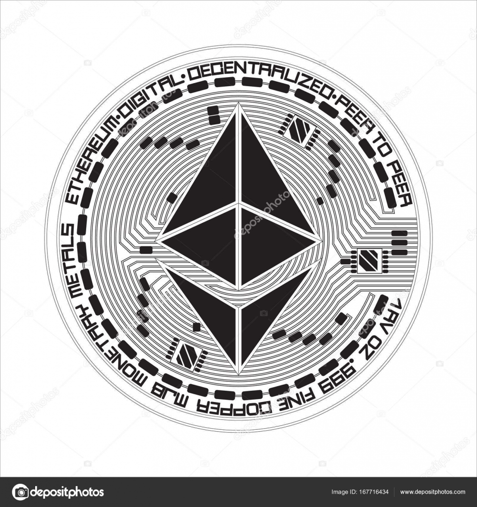 Crypto Currency Ethereum Black And White Symbol Stock Vector