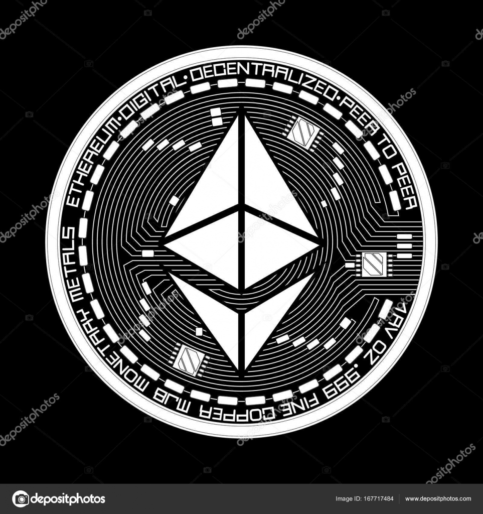 Crypto currency ethereum black and white symbol — Stock