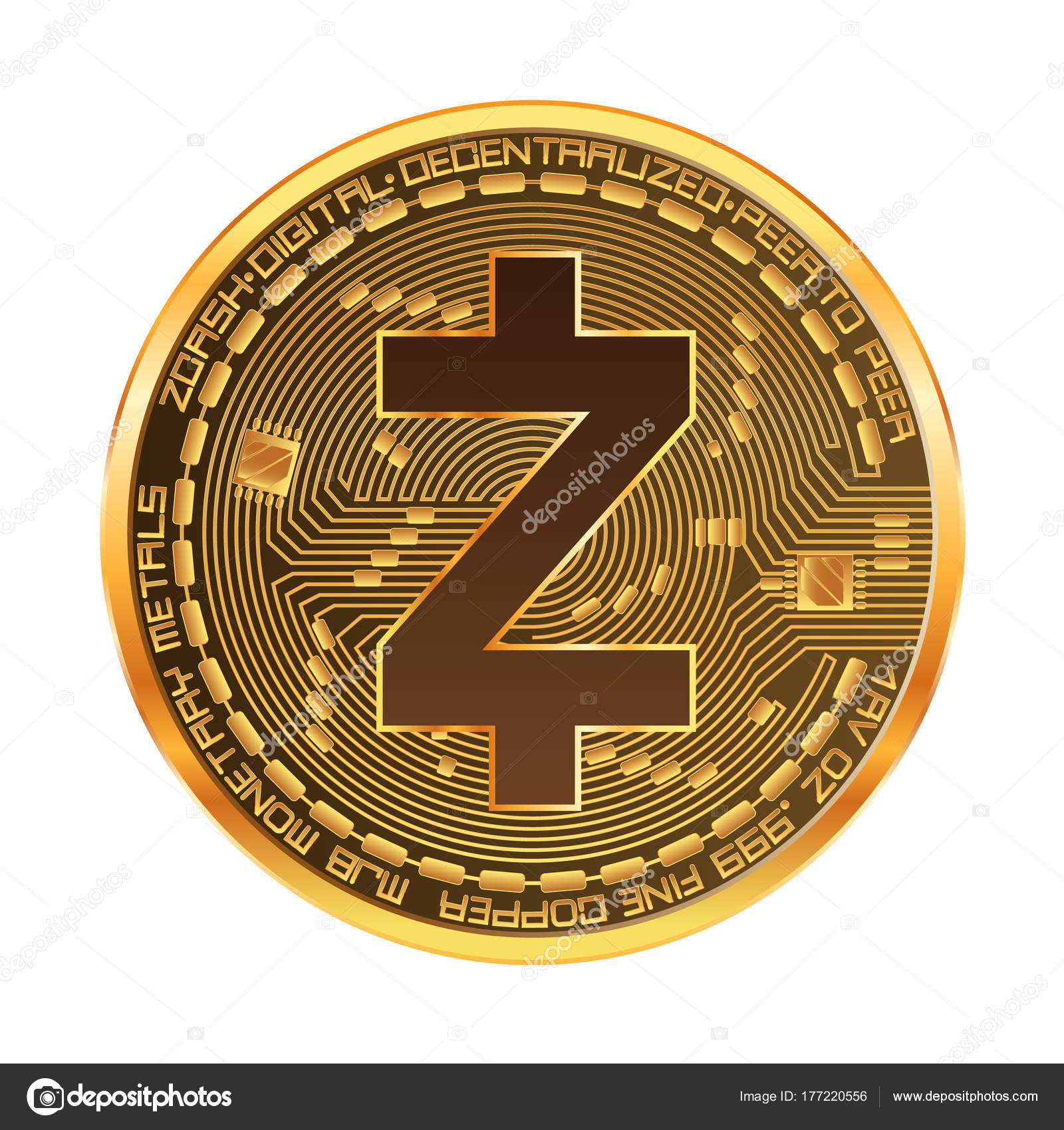 Crypto Currency Zcash Golden Symbol Stock Vector Ryzhi 177220556