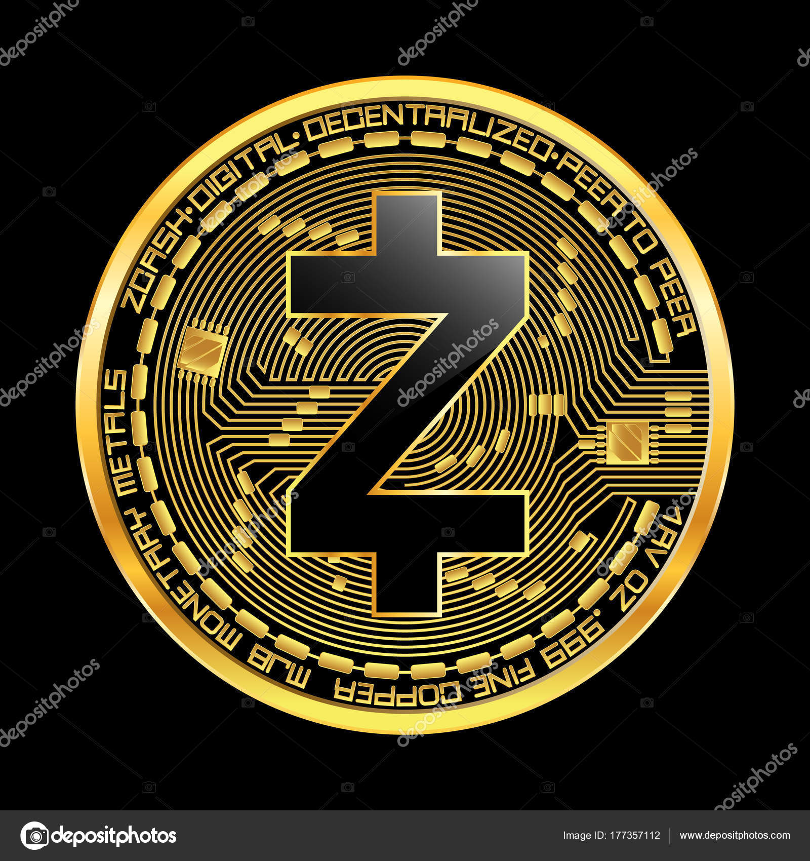 Crypto Currency Zcash Golden Symbol Stock Vector Ryzhi 177357112