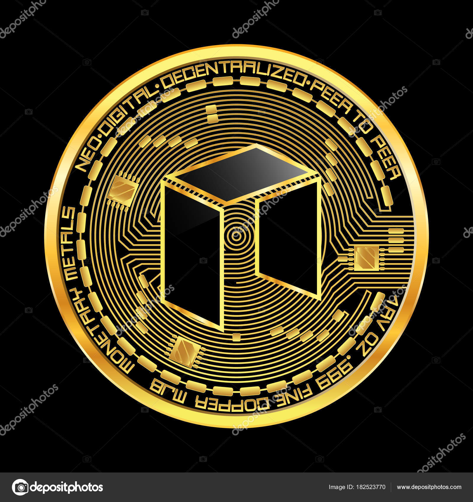 Crypto Currency Neo Golden Symbol Stock Vector Ryzhi 182523770