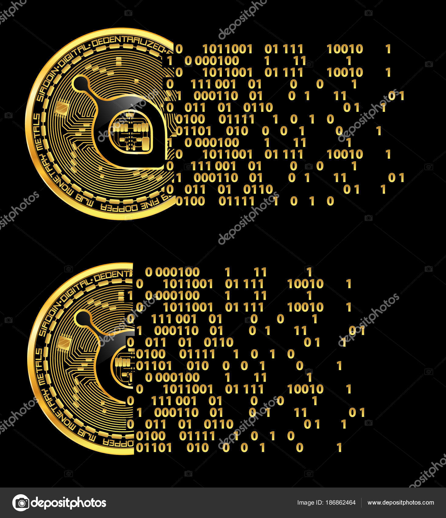 Set Of Crypto Currency Siacoin Golden Symbols Stock Vector Ryzhi