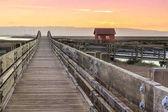 Fotografie Holzbrücke und Kabine Landschaft. Sonnenuntergang am Don Edwards San Francisco Bay National Wildlife Refuge, Fremont, Alameda County, Kalifornien, Usa