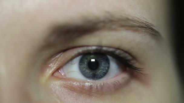 Detail otevřeného ženské modré oko bez make-upu. Svítí a nesvítí.