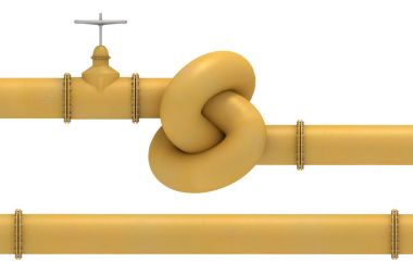 Yellow pipe knot and pipe segment
