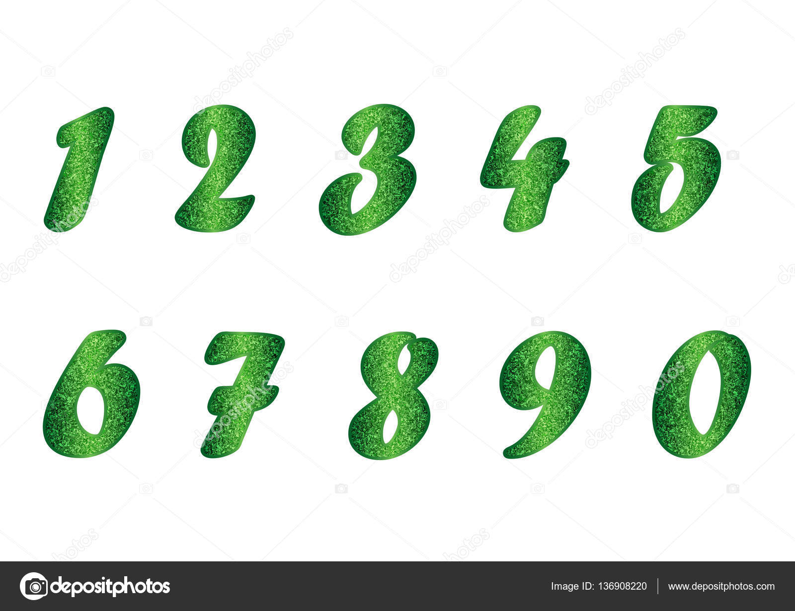 Set of numbers in emerald tones — Stock Vector © Yulu #136908220