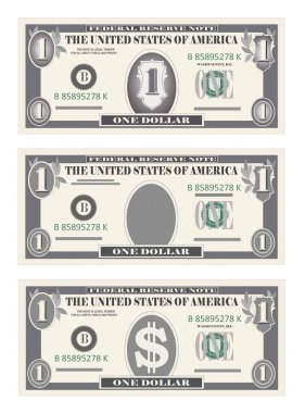 Money set, paper banknotes one dollar in gray color.