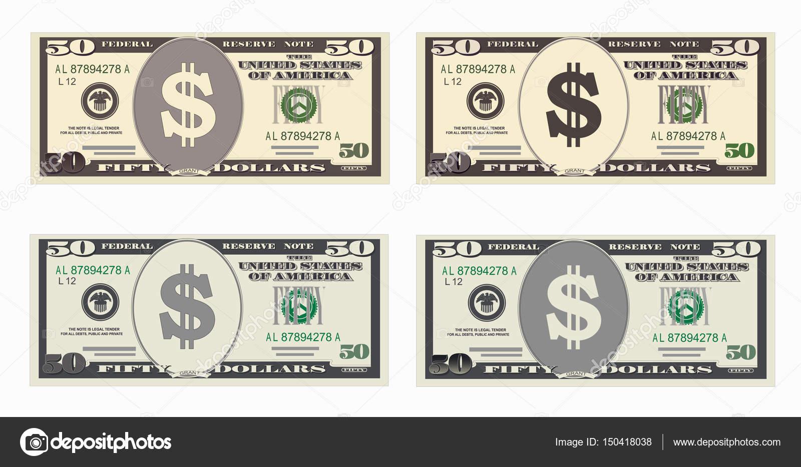 USA banking currency, cash symbol 50 dollars bill  — Stock
