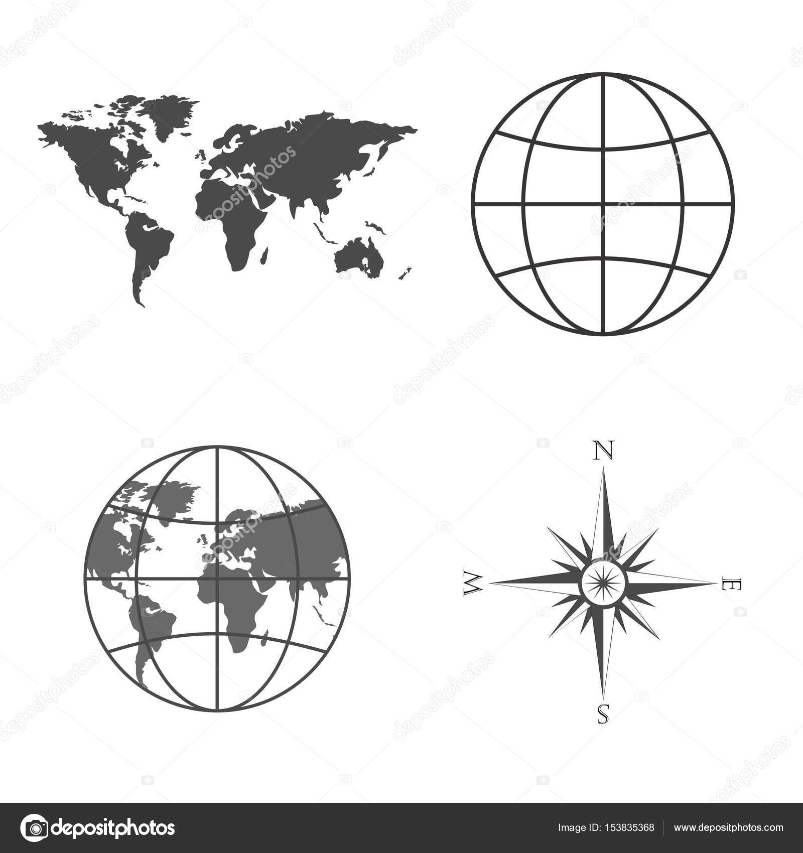 Vector illustration of world map globe wind rose compass symbols of global technology international associations travel expeditions and ect vector illustration of world map globe wind rose compass biocorpaavc