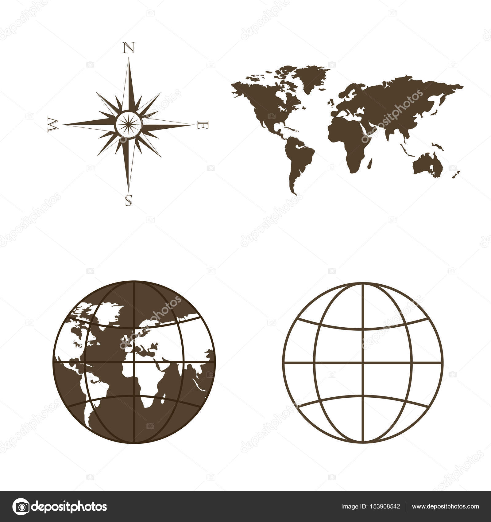 Symbols of global technology international associations travel symbols of global technology international associations travel expeditions and ect vector illustration of world map globe wind rose compass biocorpaavc Images